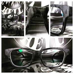 handgemachte brillen-veredelung von der stange zum unikat. leder und jeans auf acetat.